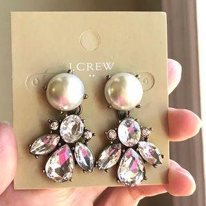 JCrew Pearl Crystal Drop Earrings